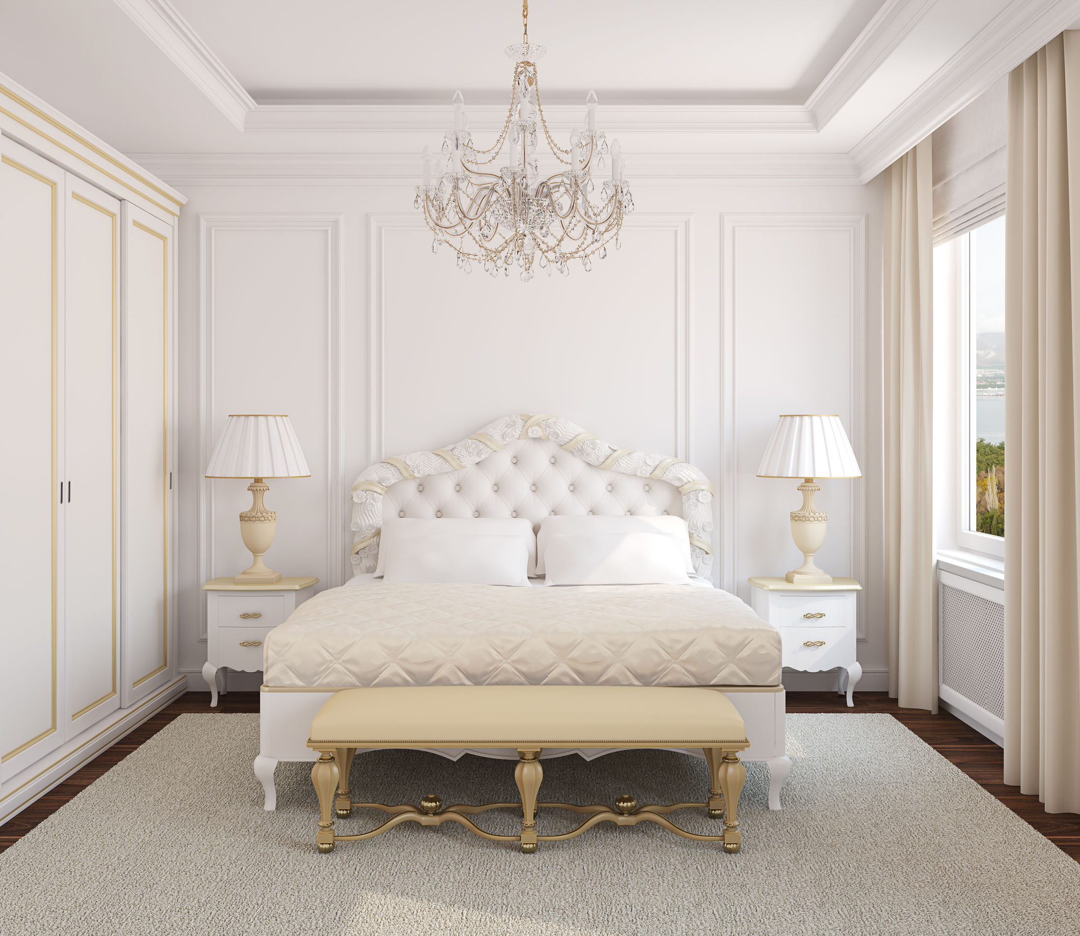 Classical white bedroom interior. 3d render. Photo behind the window was made by me.